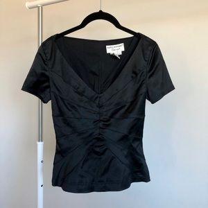 Vintage Black Peplum Short Sleeve Blouse